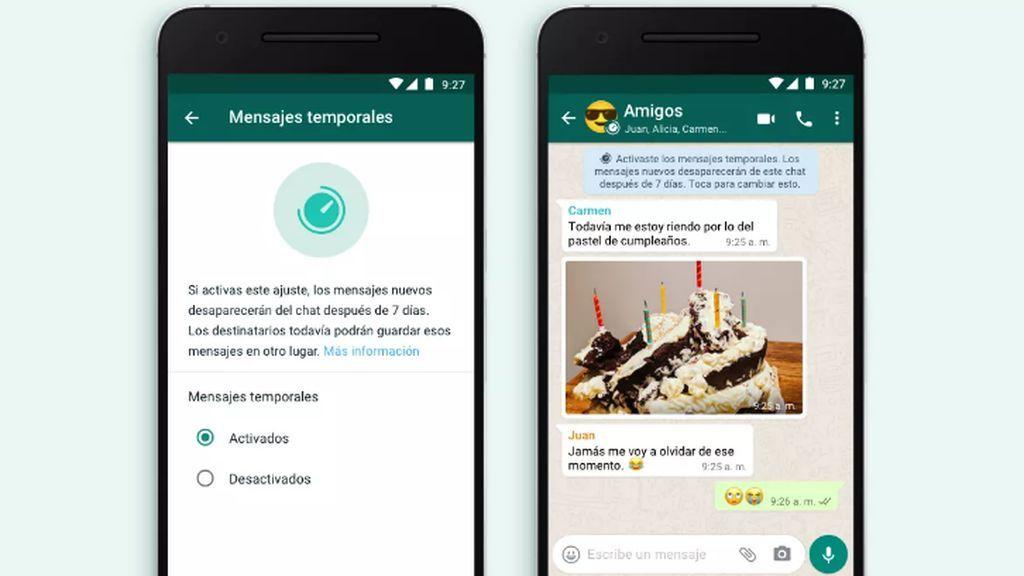 La nueva función de Whatsapp: mensajes temporales.