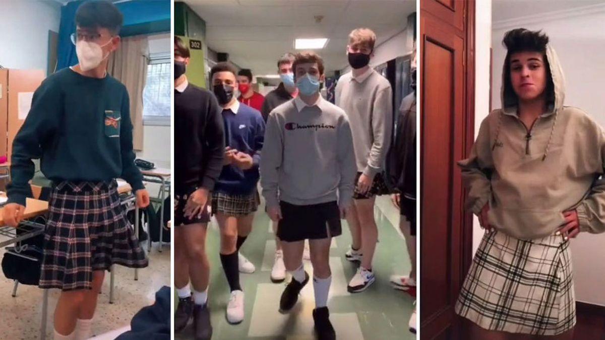 TikTok se vuelca con un alumno al que castigaron por llevar falda para demostrar que la ropa no tiene género