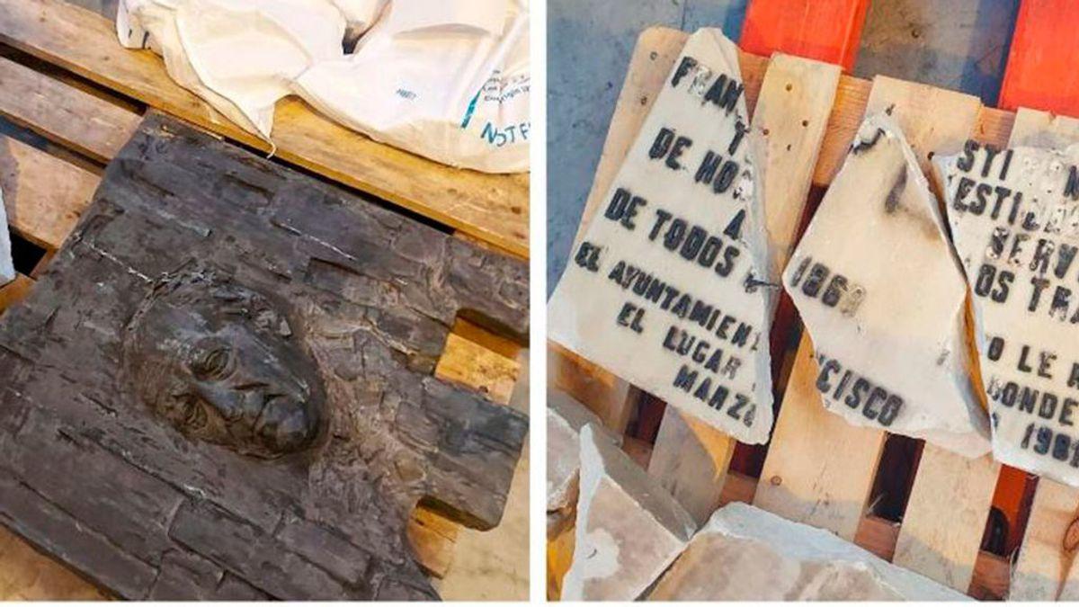 La placa de Largo Caballero, en bolsas para escombros en un almacén del Ayuntamiento de Madrid
