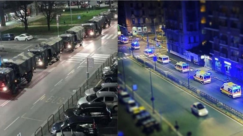 Dos imágenes, dos momentos de la Italia de la pandemia