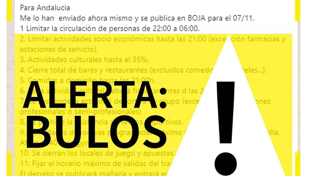 Advierten de la difusión de un bulo a través de Whatsapp sobre las nuevas restricciones en Andalucía