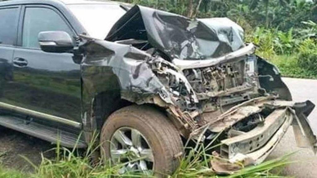 Coche de Eto'o tras el accidente
