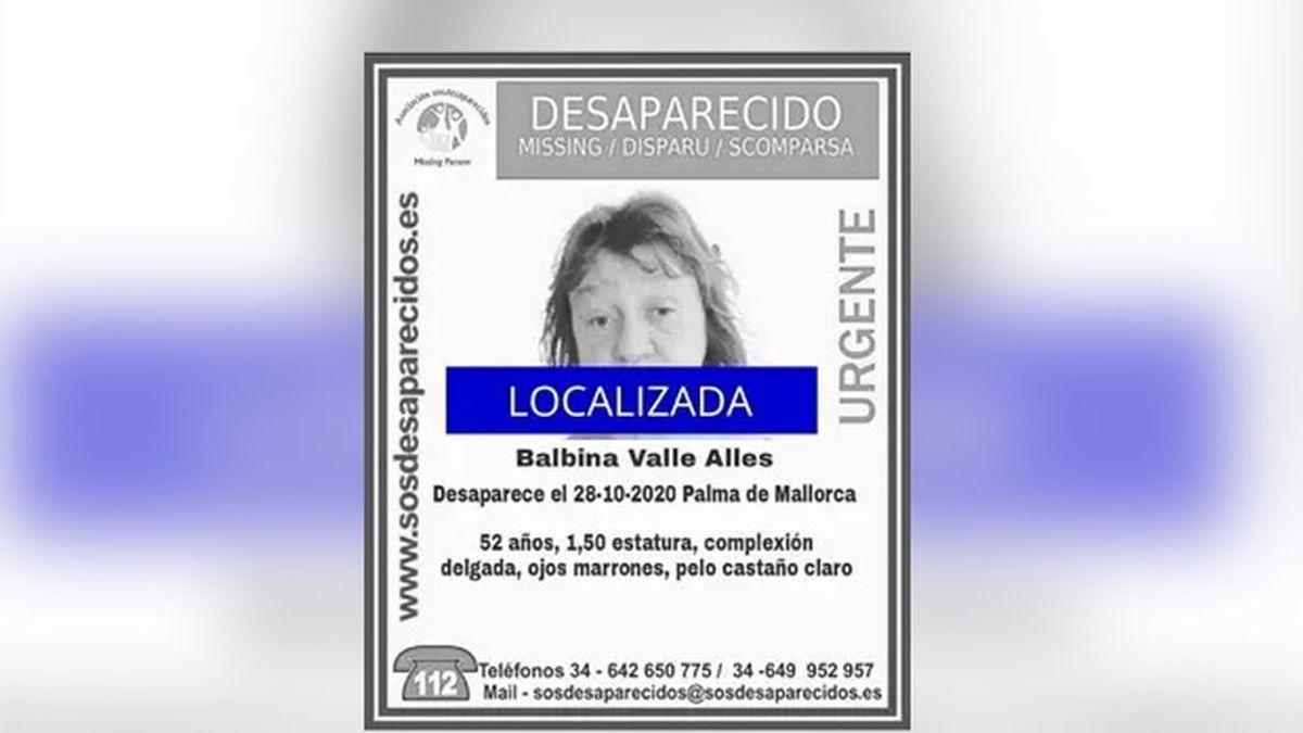 Localizan a Balbina Vall, la mujer de 52 años desaparecida desde hace una semana en Palma