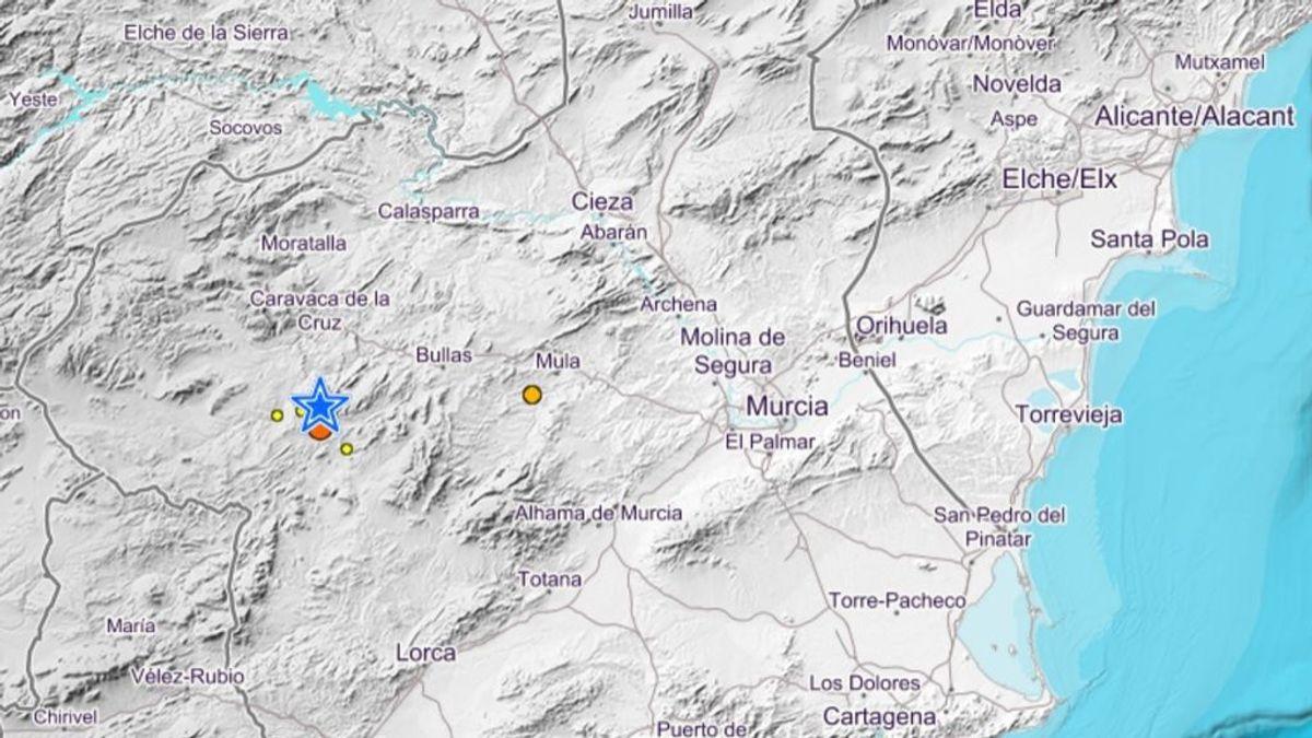 Registrado un terremoto de magnitud 3,9 con epicentro en el sur de Murcia