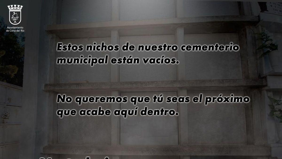 """El crudo mensaje de alarma de un pueblo de Sevilla: """"Estos nichos estan vacíos, no te la juegues"""""""