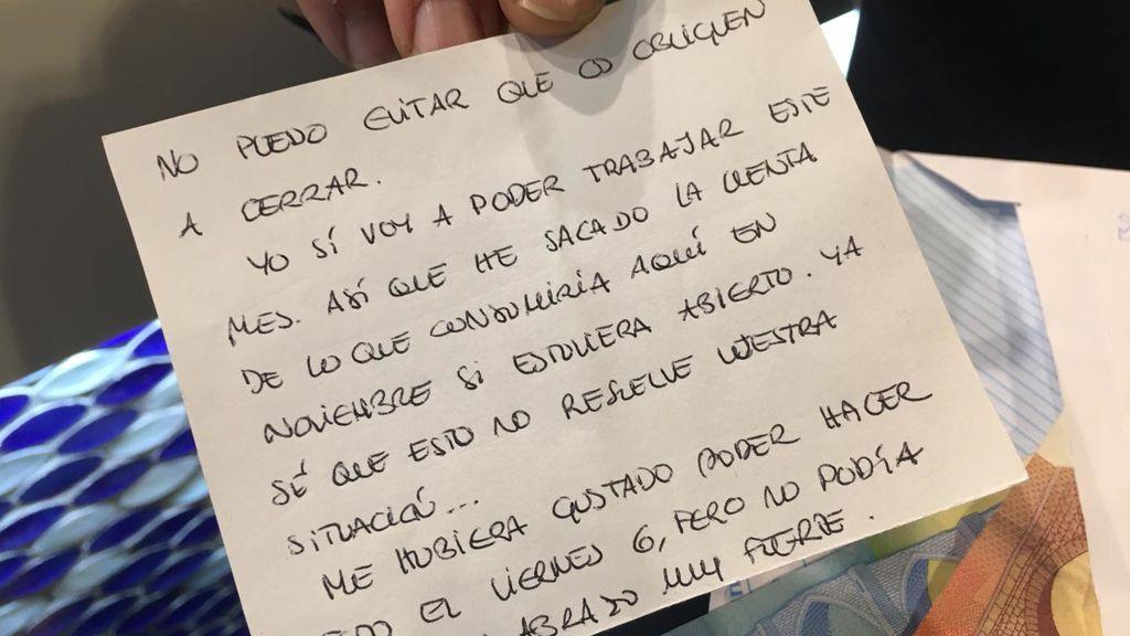 La nota donde el cliente explica los motivos de este gesto.