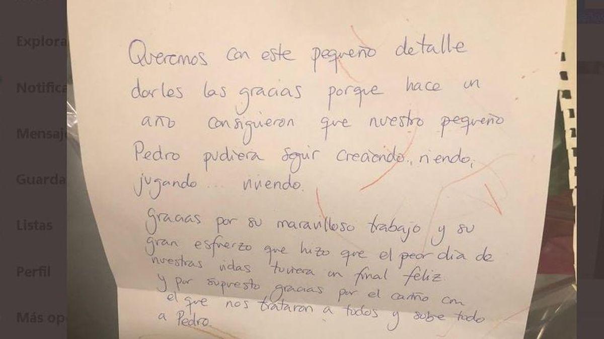 La carta de agradecimiento de unos padres a los sanitarios de la UCI de un hospital en Granada por salvar a su hijo