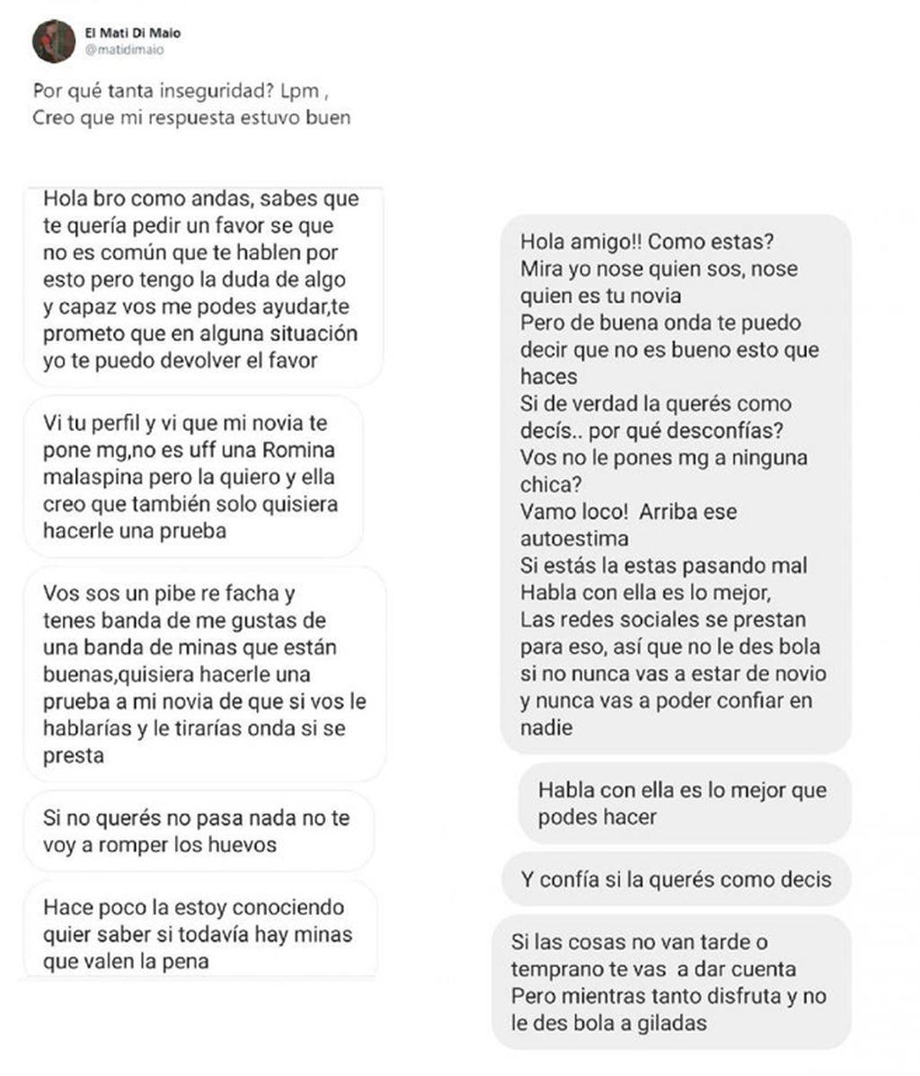 La conversación del hincha con Matías Di Maio.