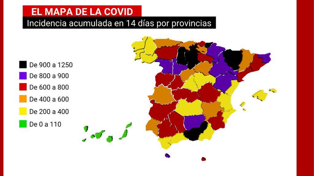 Granada, Huesca o Burgos: las provincias que duplican la incidencia media del coronavirus en España