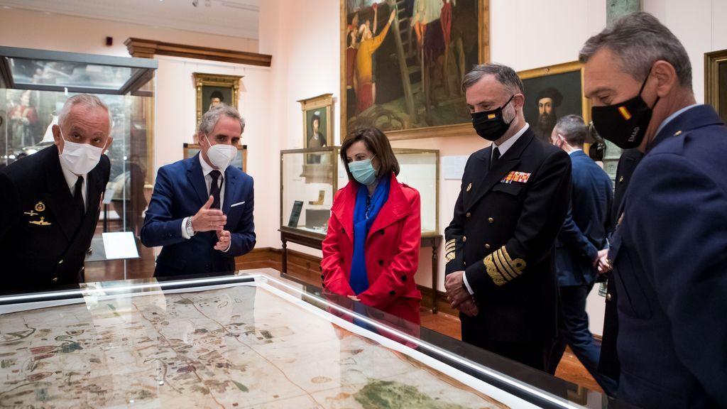 La ministra de Defensa, Margarita Robles, en la presentación de la reforma del Museo Naval de Madrid