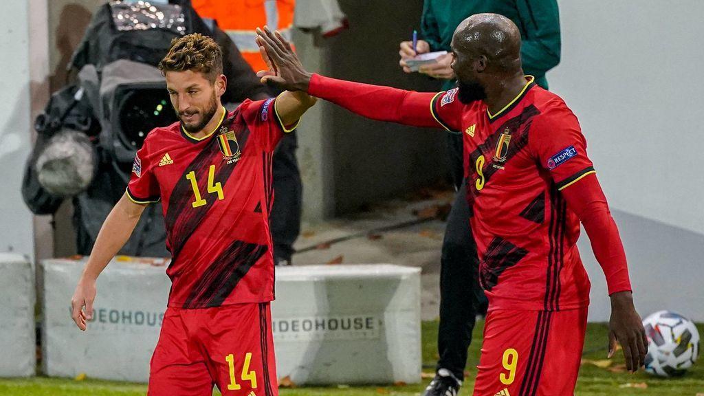 Mertens y Lukaku celebran el segundo gol ante Inglaterra.