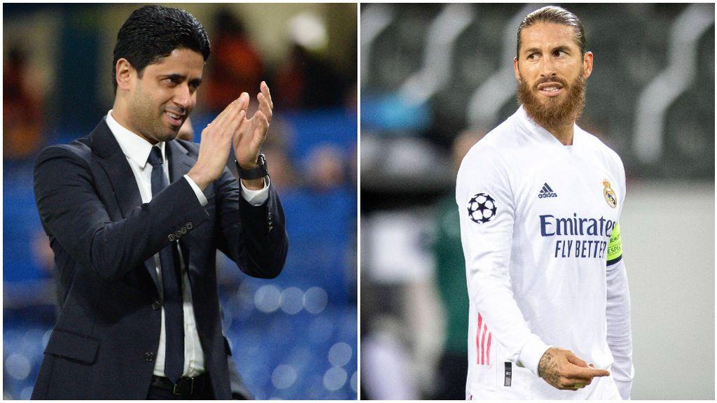 Al Khelaifi, jeque del PSG, y Sergio Ramos, en un partido con el Madrid.