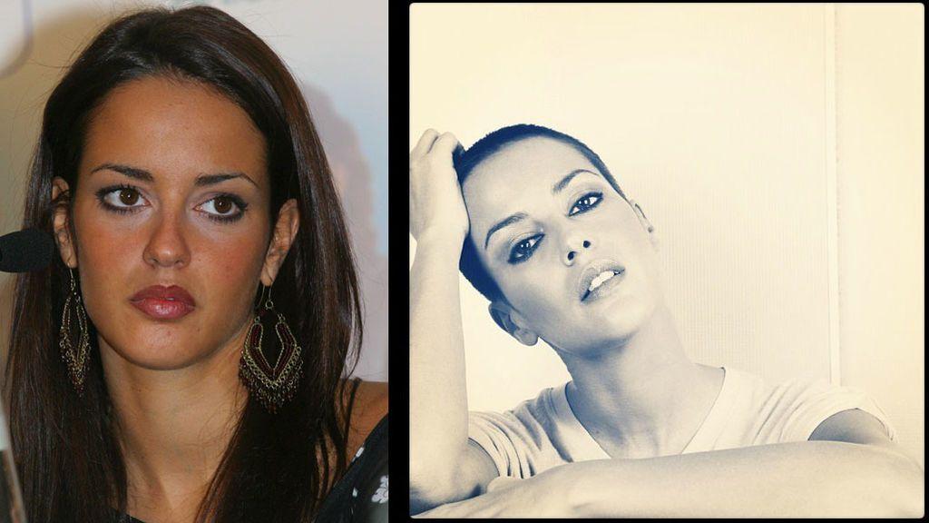 Vega, en una imagen de 2003 y otra de 2012 con rapado de pelo