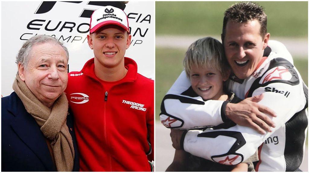 Jean Todt, con Mick Schumacher, y su padre Michael.