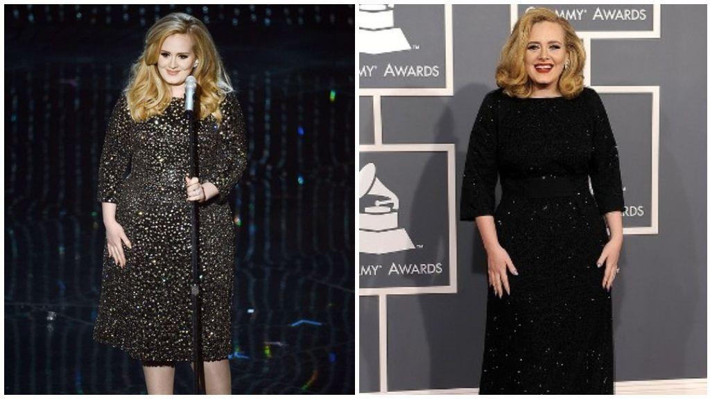 Así, hemos podido ver a Adele con vestidos con aplicaciones o transparencias.