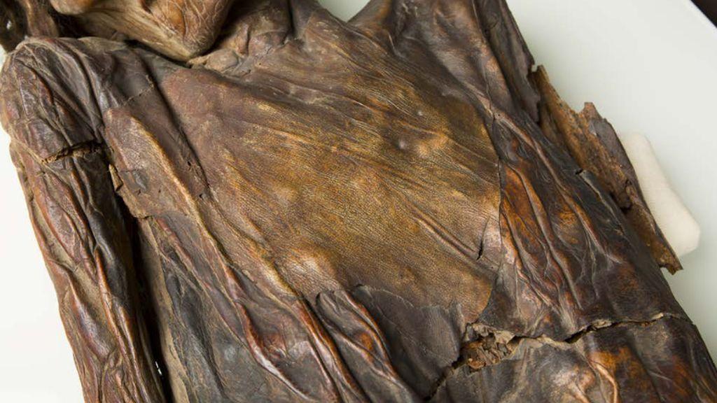 En el pecho se encuentra un parche de gran tamaño adherido a la momia.