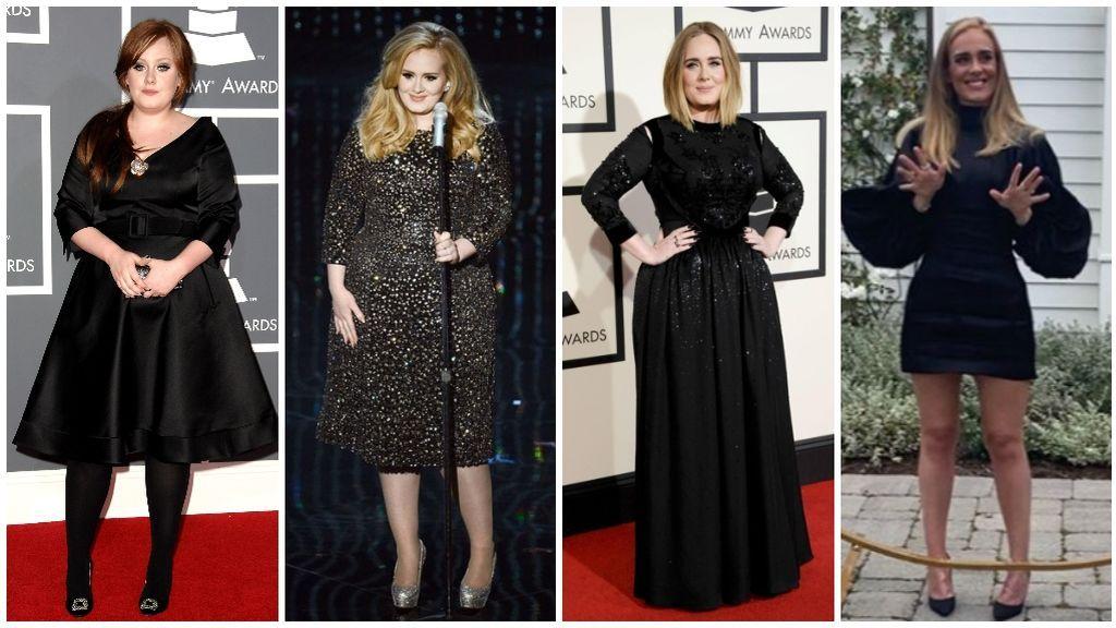 Adele es una persona nueva: la evolución en sus tradicionales vestidos negros tras perder 70 kilos.