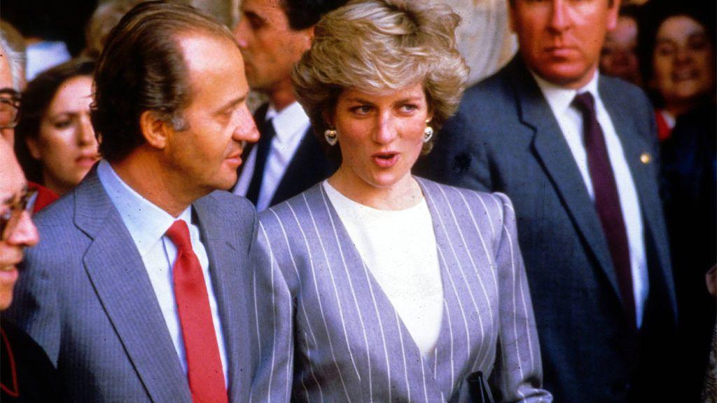 El Rey y Diana de Gales, en una de sus visitas a España (abril de 1987)