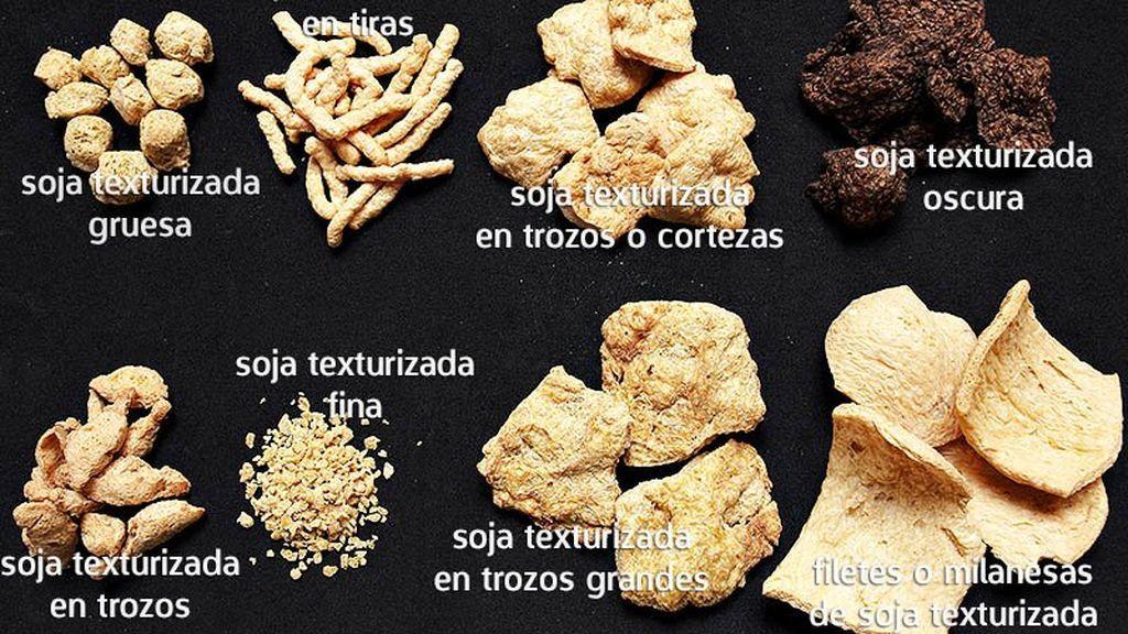 Algunos de las formas en la que podrás encontrar la soja texturizada
