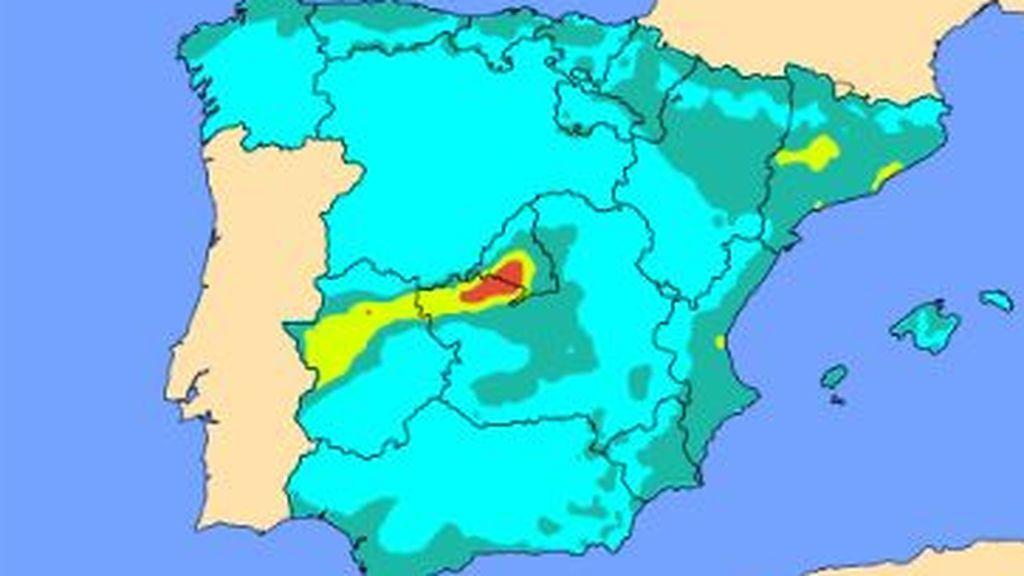 El viento del este propaga una 'cola' de contaminantes desde Madrid hacia Extremadura