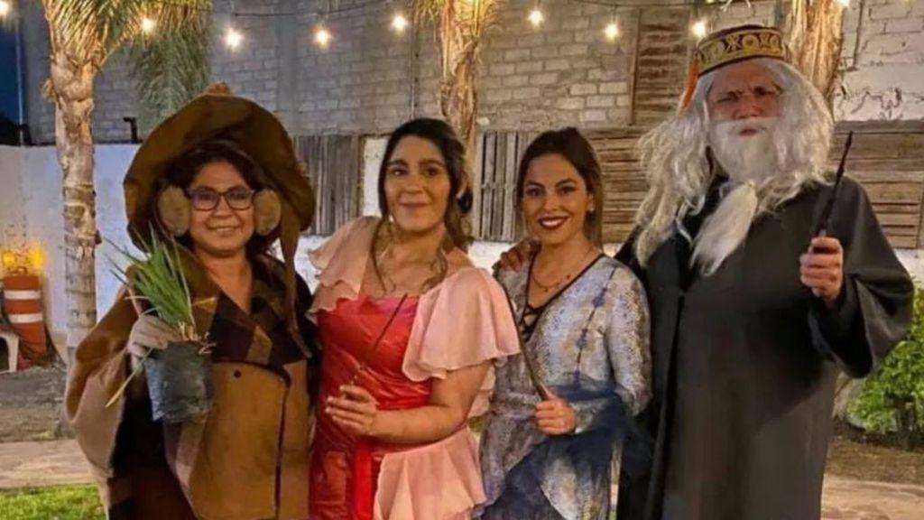 Convence a toda su familia para disfrazarse de Harry Potter: su fiesta se vuelve viral