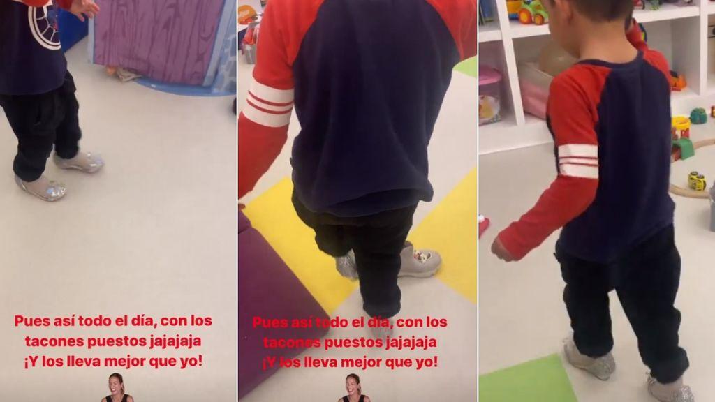 Antonio Garay Gorro, feliz jugando con unos tacones