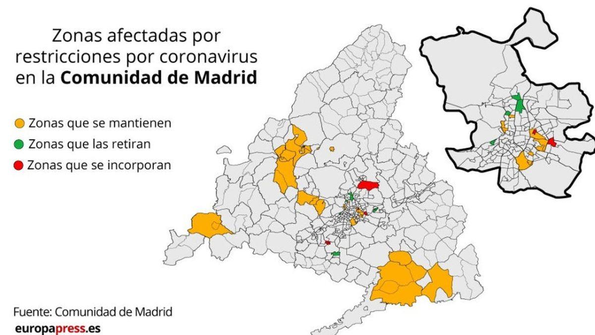 Estas son las nuevas zonas con restricciones por coronavirus en la Comunidad de Madrid