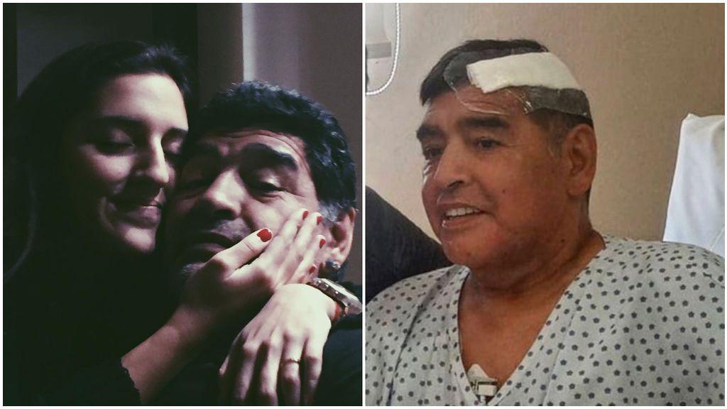Maradona con su hija Jana y su única foto en el hospital.