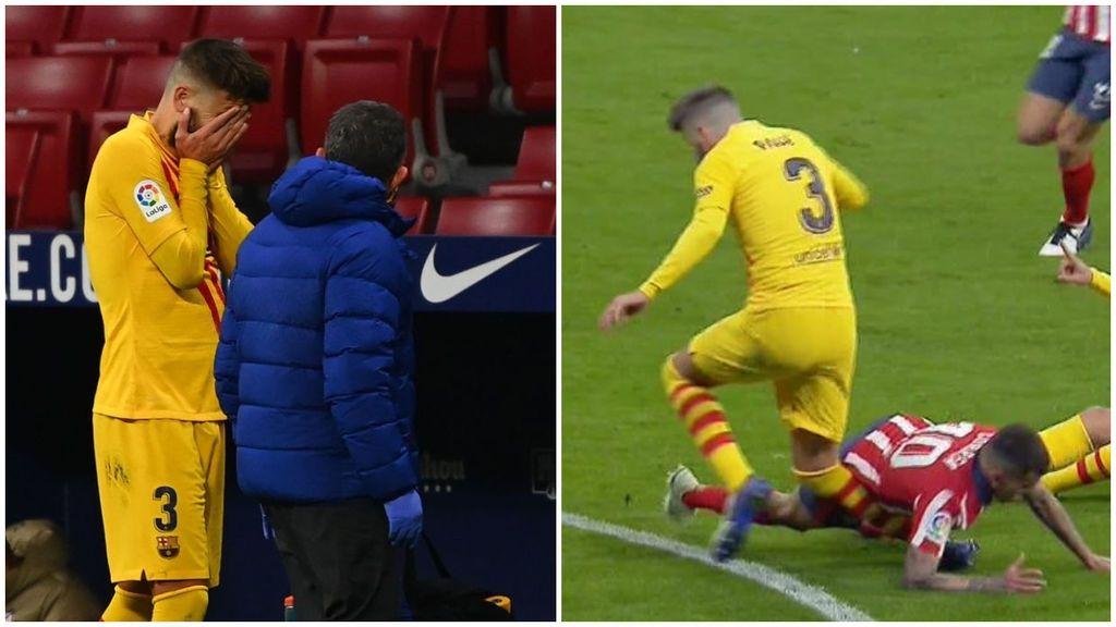 Piqué se lesiona de la rodilla derecha ante el Atleti y el Barça se teme lo peor