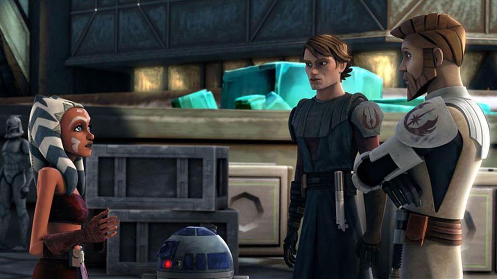 Ashoka Tano con Anakin y Obi Wan en 'The Clone Wars'