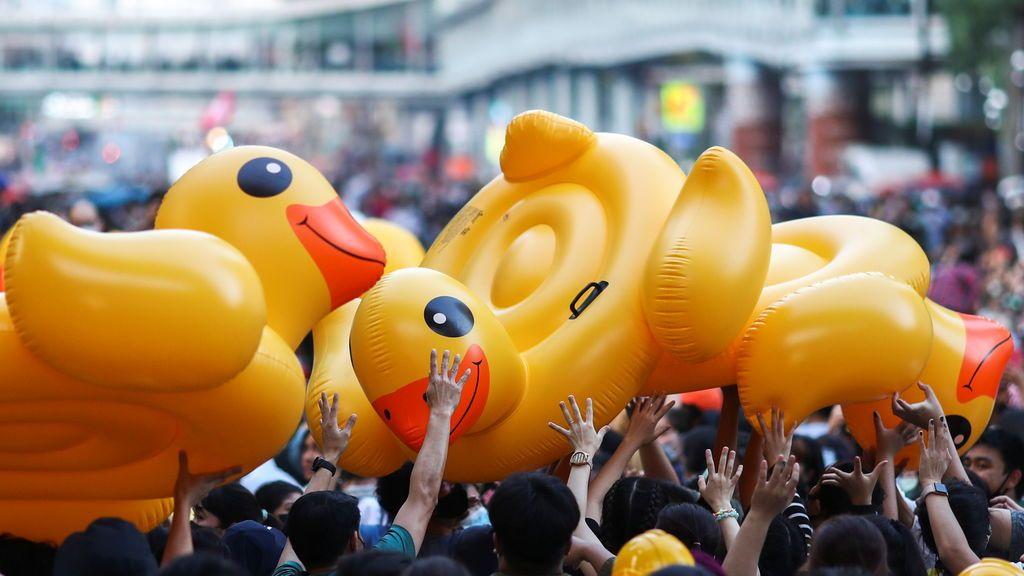 Patos hinchables como escudos: el símbolo pacífico de las manifestaciones por la democracia en Tailandia