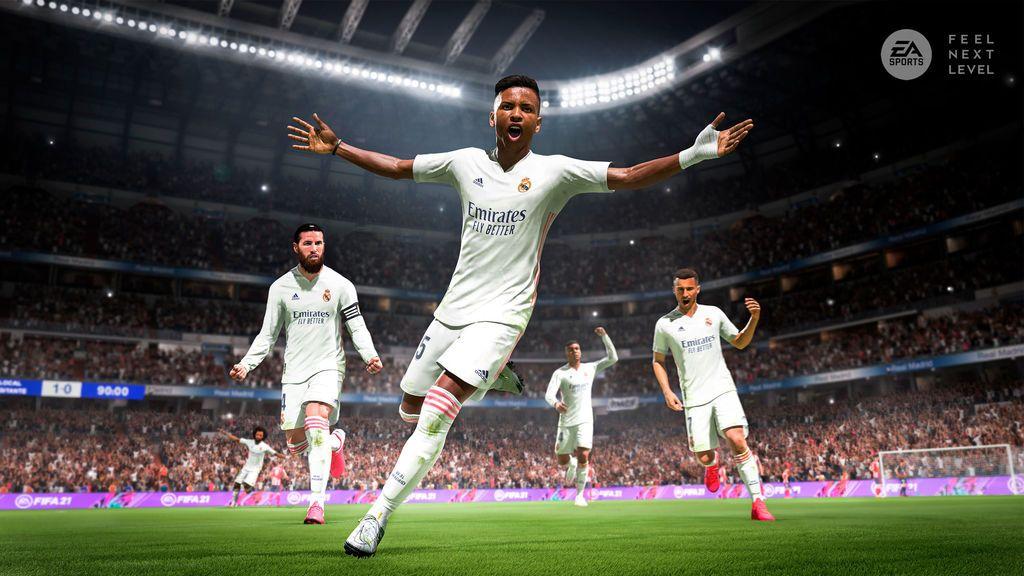 Rodrygo celebrando un gol importante en FIFA 21