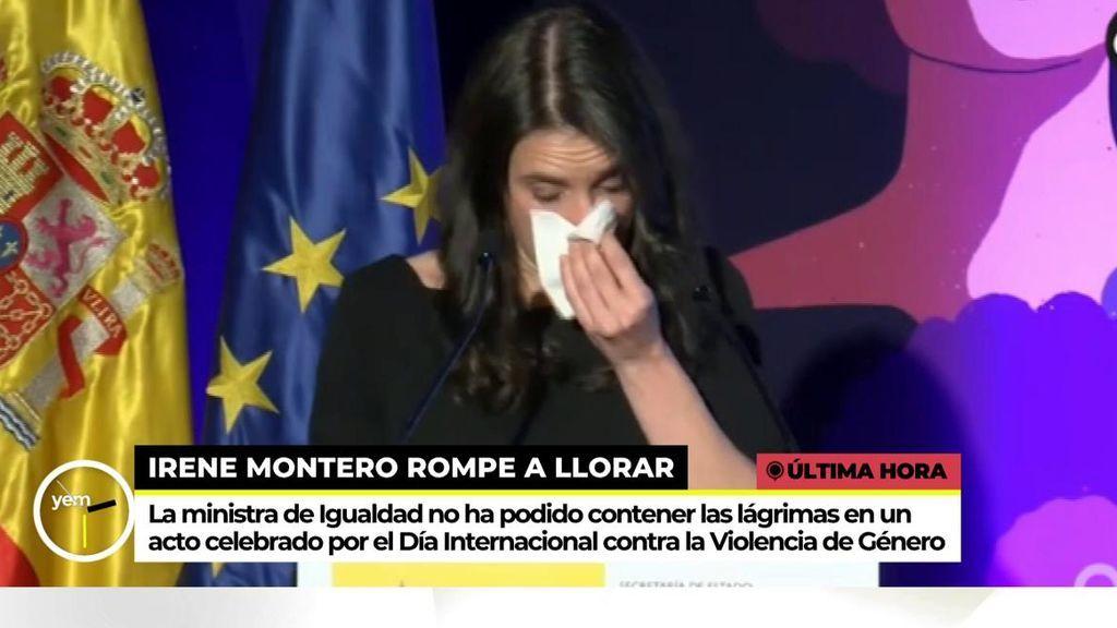 Irene Montero se emociona en un acto del Día Internacional contra la violencia de género