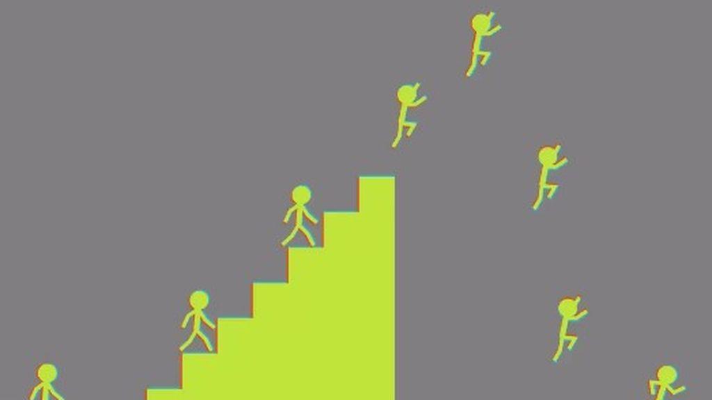 Nada es lo que parece: ni los muñecos saltan ni se mueven las escalera, es una ilusión óptica