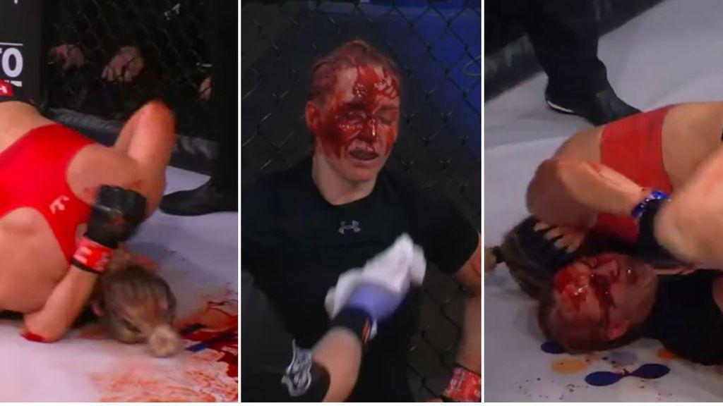 Una luchadora de MMA bebe sangre de su rival tras dejarle destrozada la cara con un KO