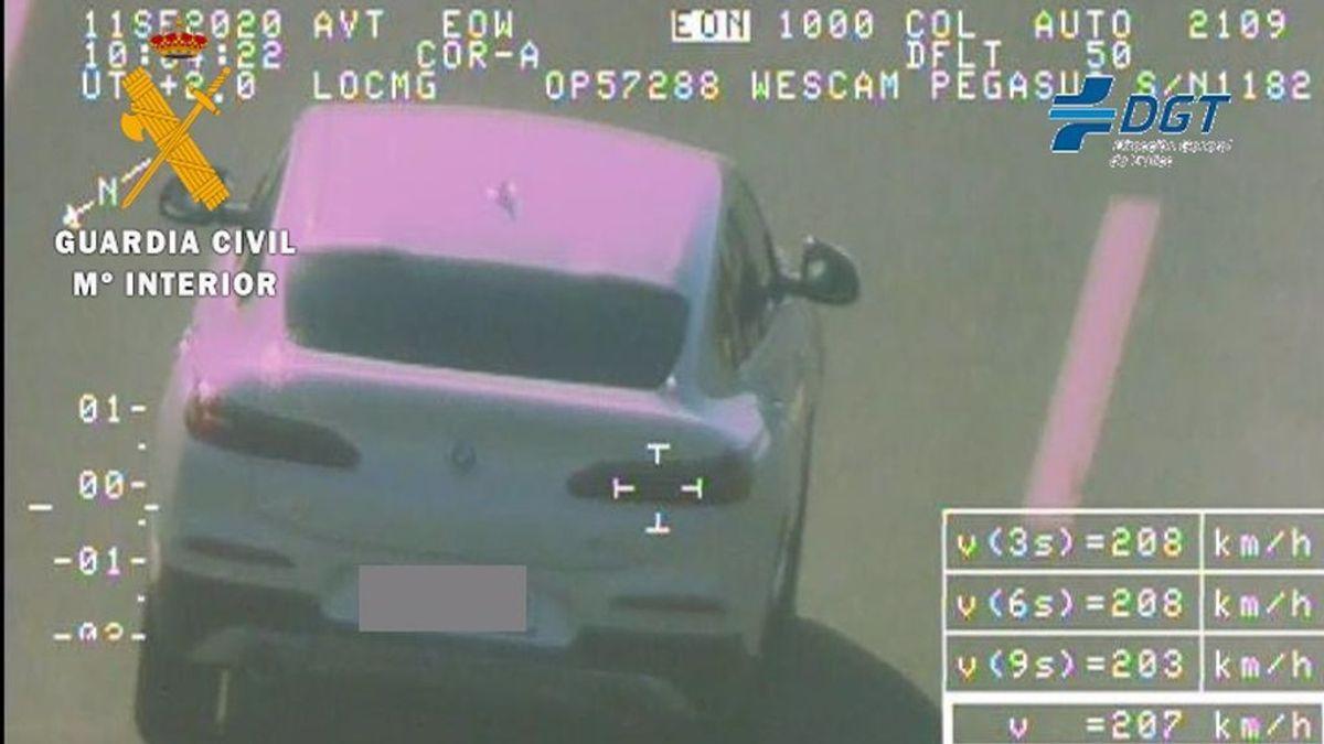 Detenido por conducir su BMW a 207 km por hora en una autovía de Granada