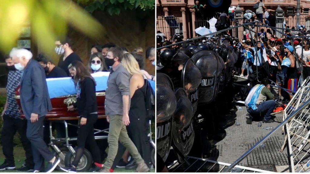 El esperpéntico entierro de Maradona: drones en el cementerio, disturbios en las calles y un millón de personas sin distancia de seguridad