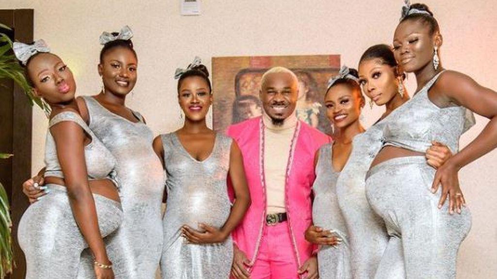 Lluvia de críticas a un hombre por presumir al acudir a una boda con sus seis mujeres embarazadas