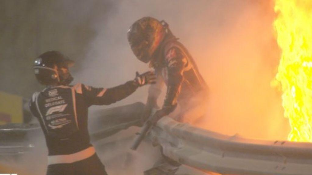 Romain Grosjean, fuera de peligro tras sufrir un gravísimo accidente en el Gran Premio de Baréin de F1