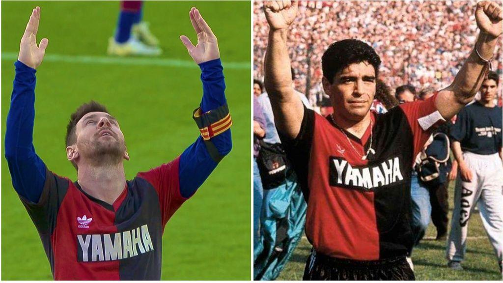 La camiseta del Newell's: el vínculo que une a Messi y a Maradona con el que le ha homenajeado