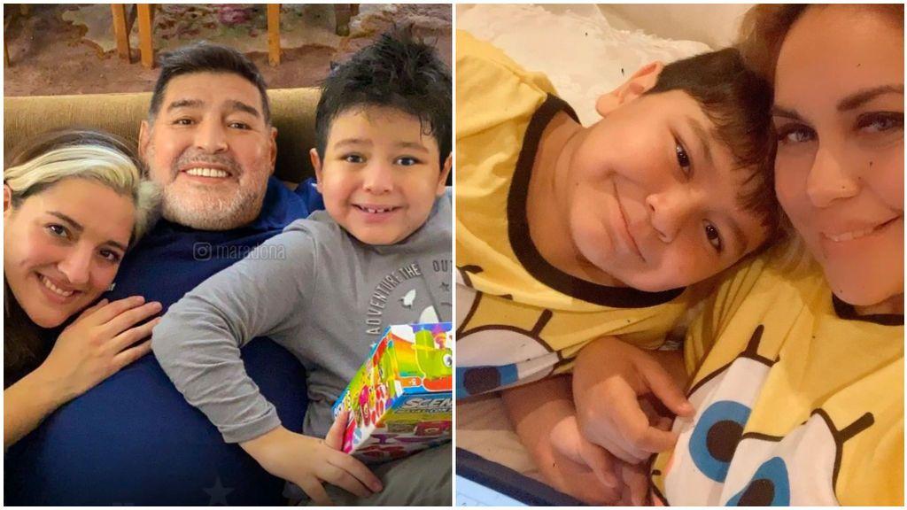 Diego Armando Maradona con su hijo Diego Fernando.