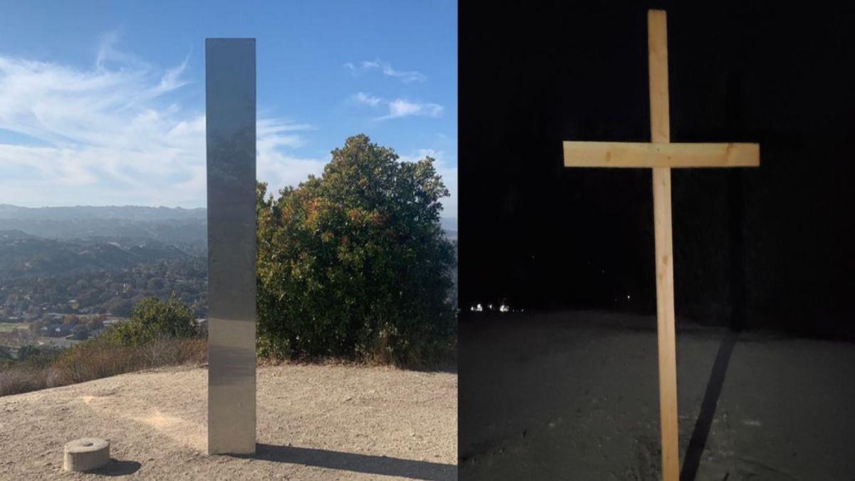 """Derriban el monolito de California al grito de """"Cristo es el rey"""" y lo reemplazan por una cruz de madera"""