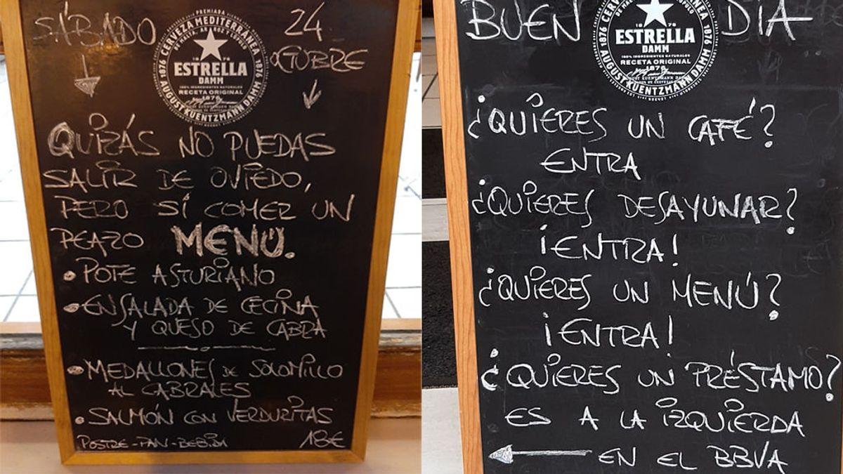 """Fernando, el rey de los mensajes en los menús de un bar de Oviedo: """"Noto un pesimismo exagerado"""""""