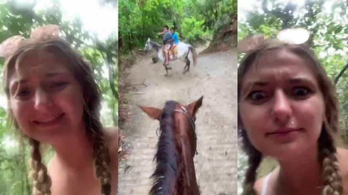 Una turista ebria se pierde montando a caballo y su vídeo se vuelve viral en TikTok