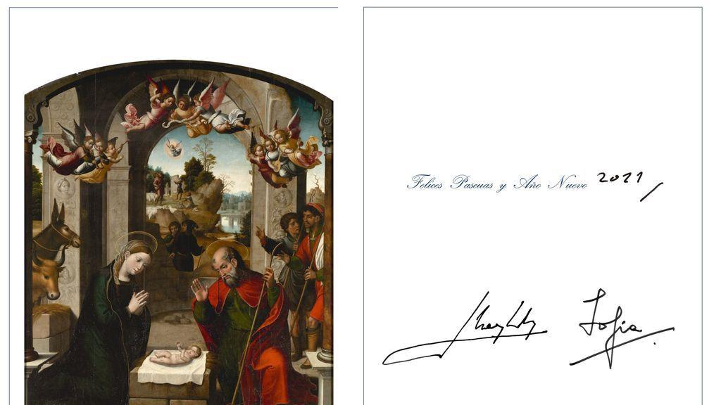 Fotografía de la postal de Navidad de los reyes eméritos