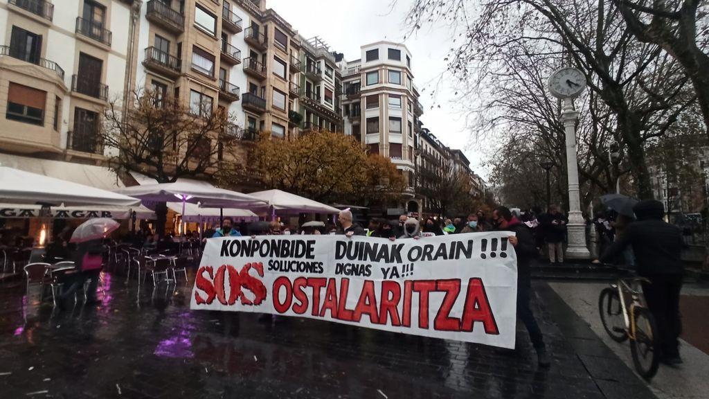 Manifestación en apoyo de la hostelería en Gipuzkoa