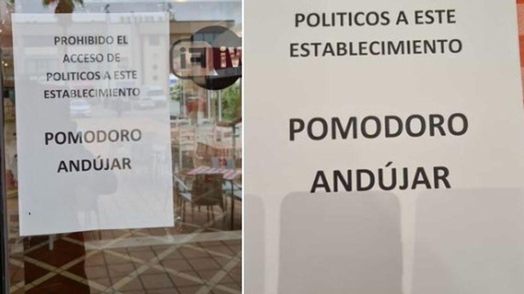 """Un pizzería de Jaén prohíbe el acceso a los políticos como protesta por las restricciones: """"Ha venido la Policía a quitarnos los carteles"""""""