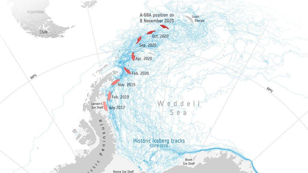 Crece el miedo a una colisión del iceberg gigante A-68a con la isla de Georgia del Sur