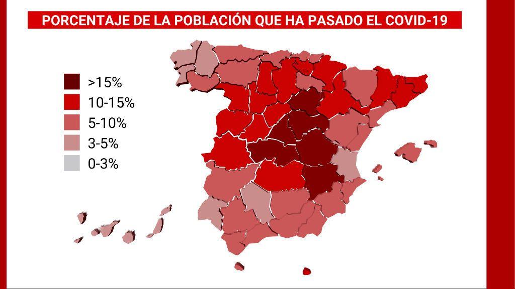 Madrid y sus provincias limítrofes, los lugares donde más gente ha tenido covid