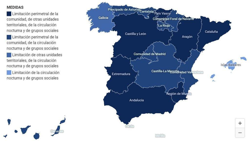 Sanidad publica en su web un mapa interactivo con las medidas que afectan a las CCAA bajo el estado de alarma